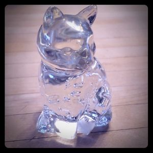 Other - Vintage Clear Glass Cat Figurine